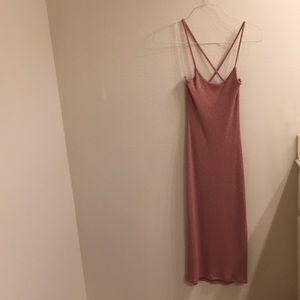 Pink strappy knit naked wardrobe midi dress slit